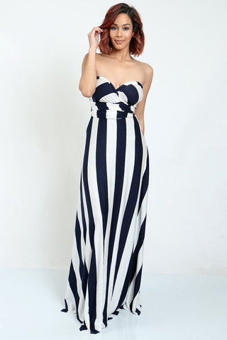 Wrap Around Dress (Striped Navy)