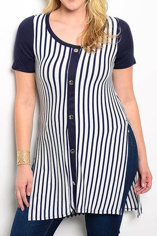 Pinstripe Tunic (Plus Size)