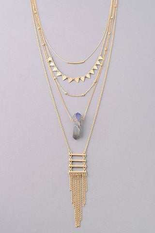 Gold Necklace with Stone
