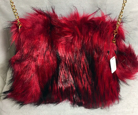 Medium Fluffy Bag with Faux Gold Chain