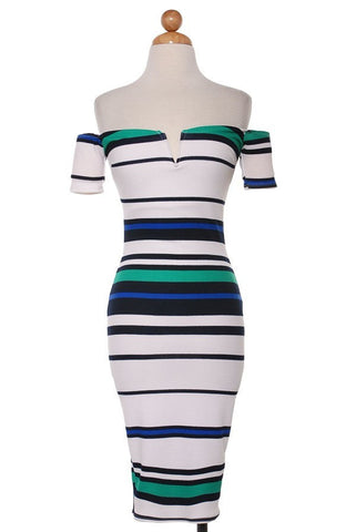 Striped Exposed Shoulder Midi Dress