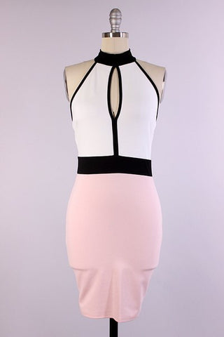 Color Block Halter Bodycon
