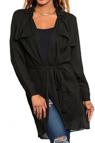 Sheer Long Jacket with Waist-Tie