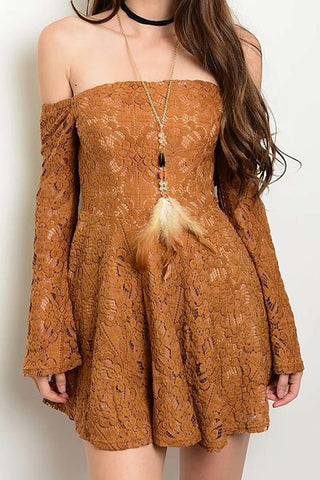 Bare Shoulder Lace Dress