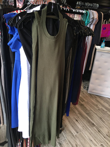 RIBBED SS (OLIVE) DRESS W/TIE