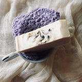 Lavender Oatmeal soap with Purple Washcloth