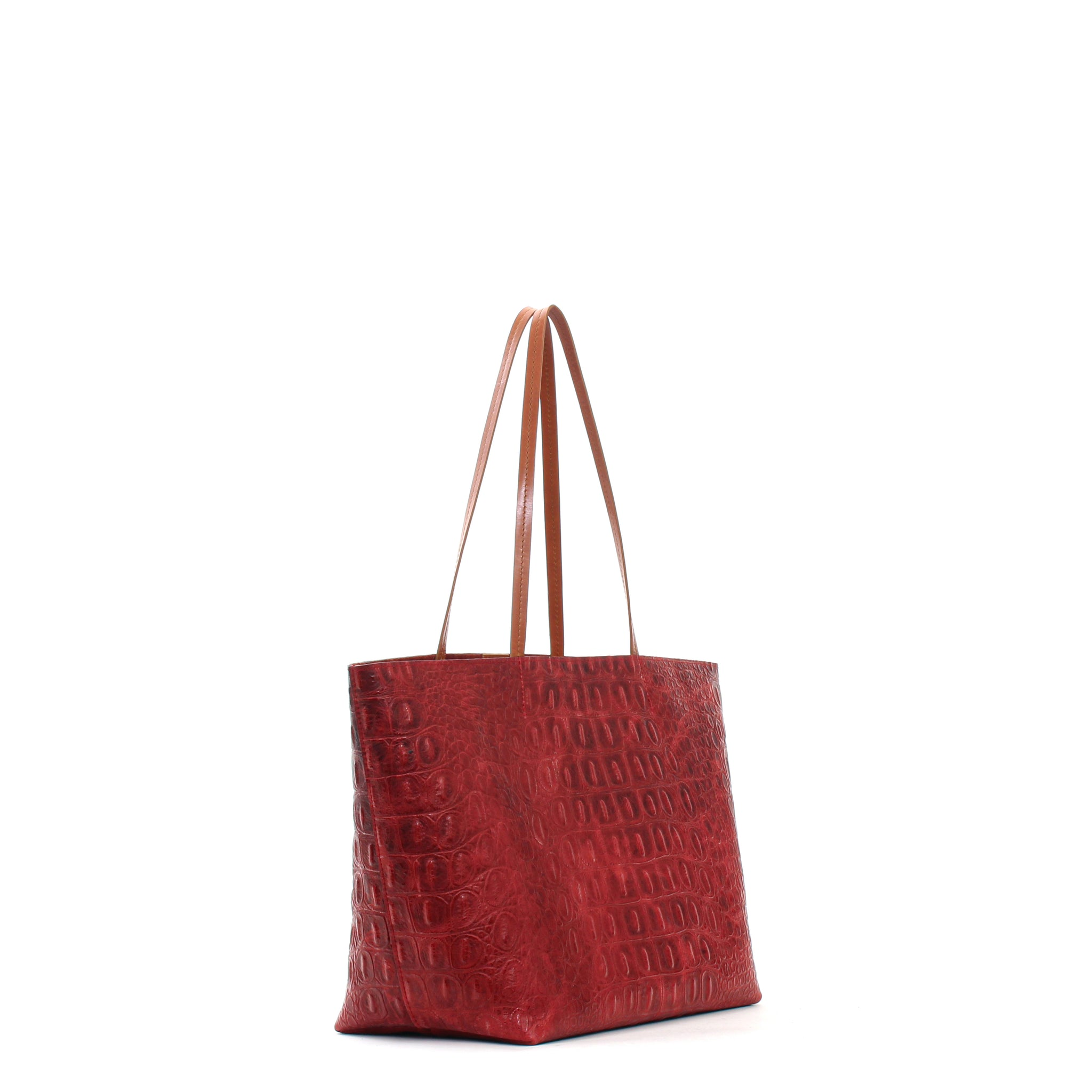 MEDIUM ESSENTIAL TOTE  RED EMBOSSED GATOR