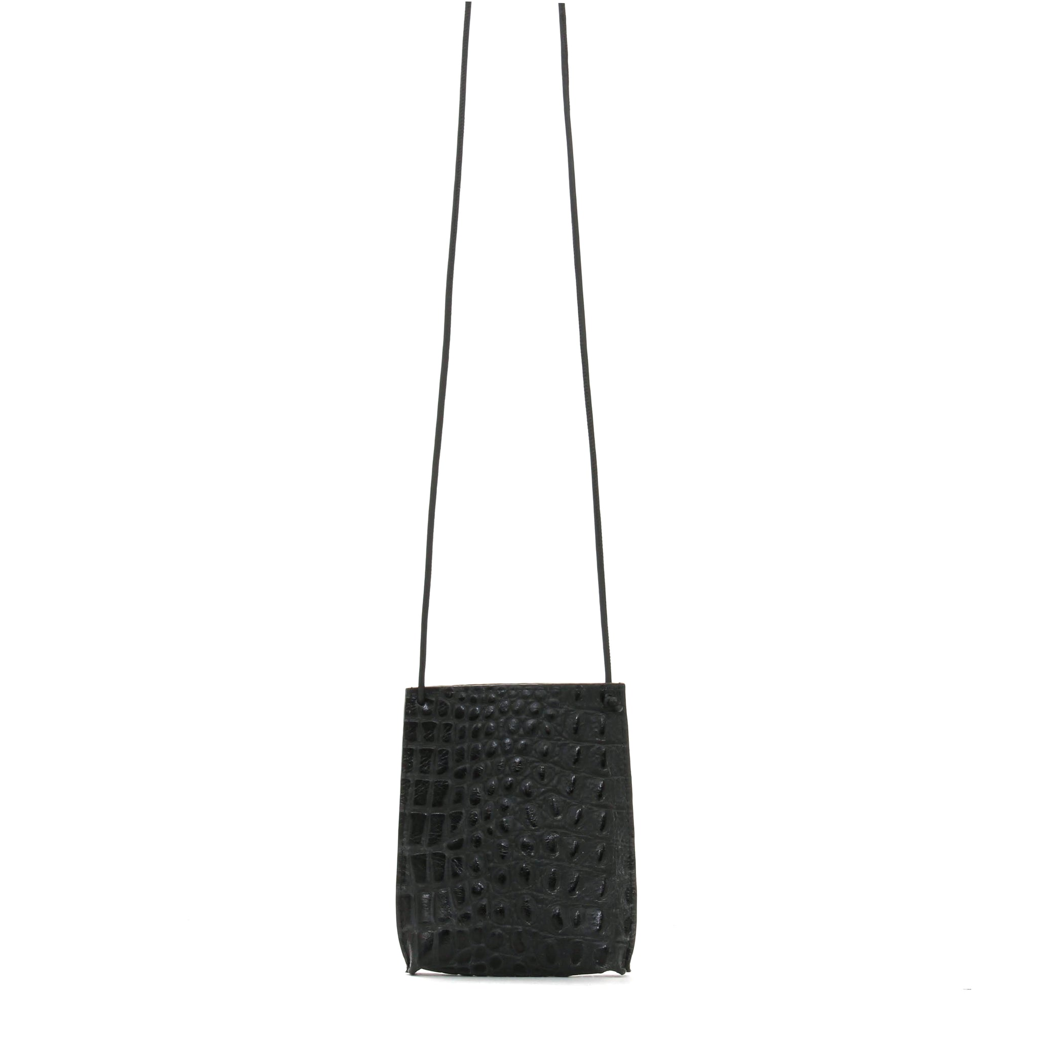 CELL POUCH MATTE BLACK EMBOSSED CROC