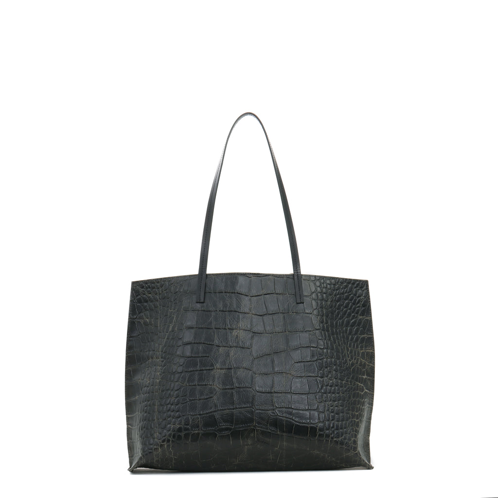 CLASSIC SHOPPER VINTAGE BLACK EMBOSSED GATOR