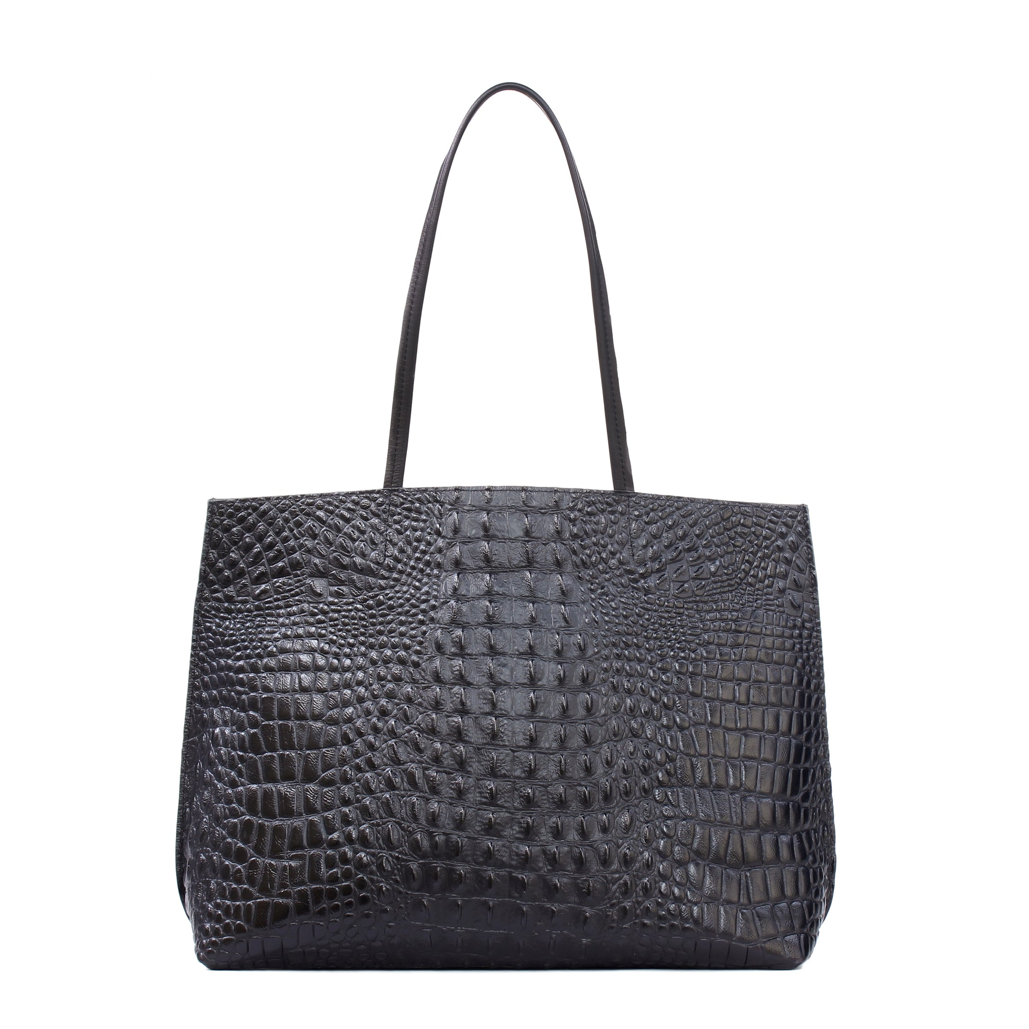 CLASSIC SHOPPER BLACK EMBOSSED CROC
