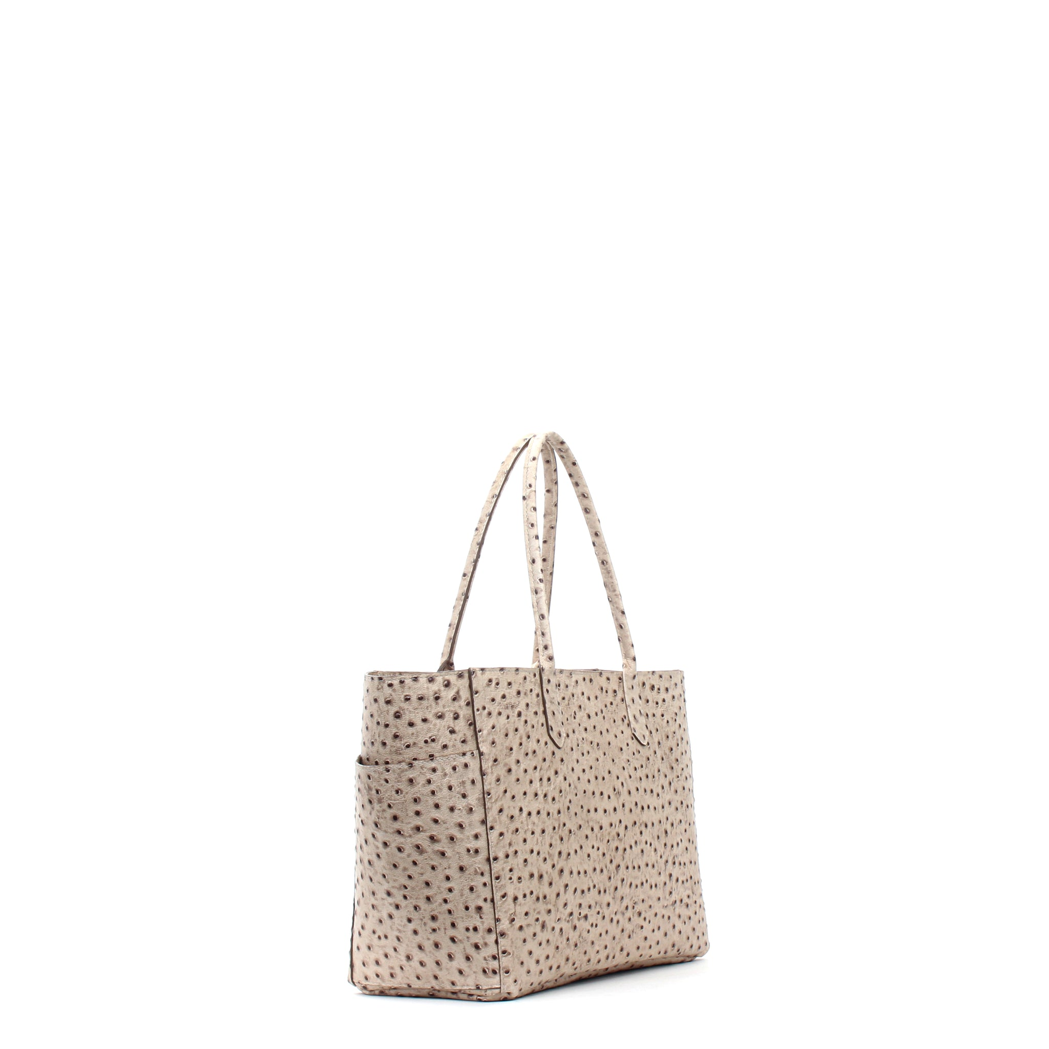 EAST WEST POCKET TOTE SAND EMBOSSED OSTRICH
