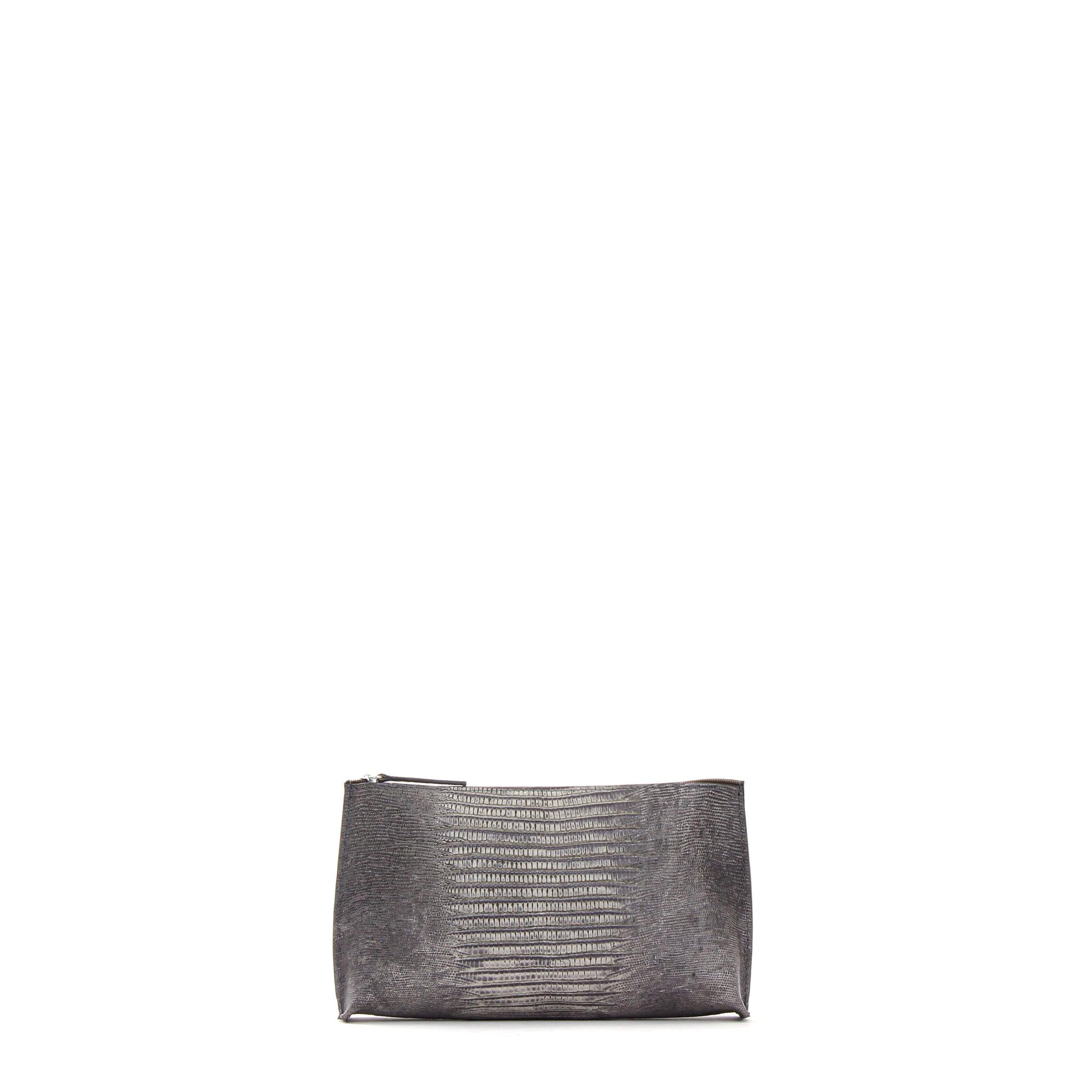 ESSENTIAL POUCH GREY EMBOSSED LIZARD