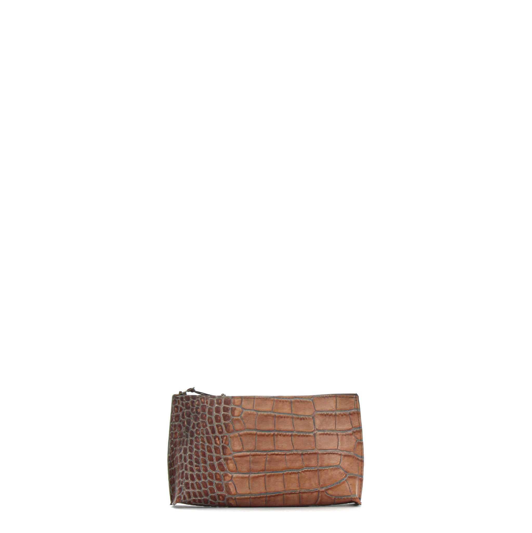 ESSENTIAL POUCH LATTE EMBOSSED GATOR