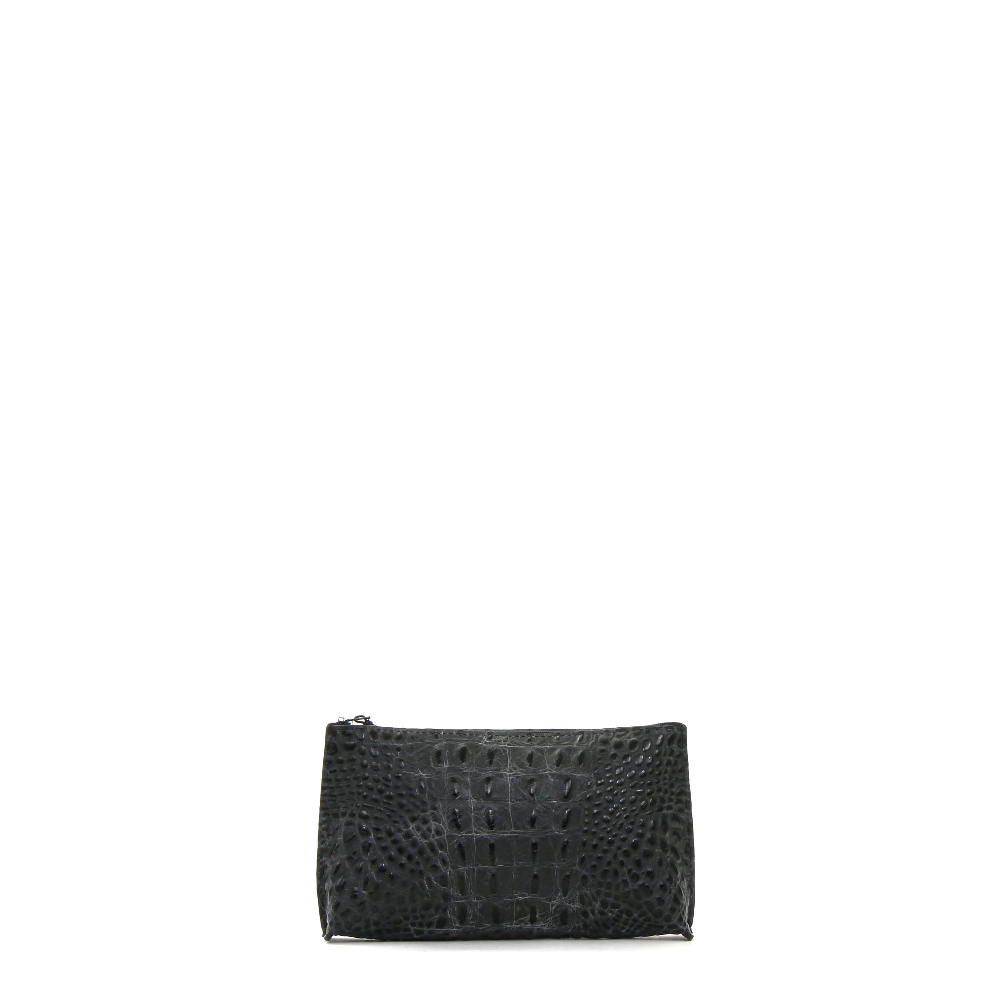 ESSENTIAL POUCH MATTE BLACK EMBOSSED CROC
