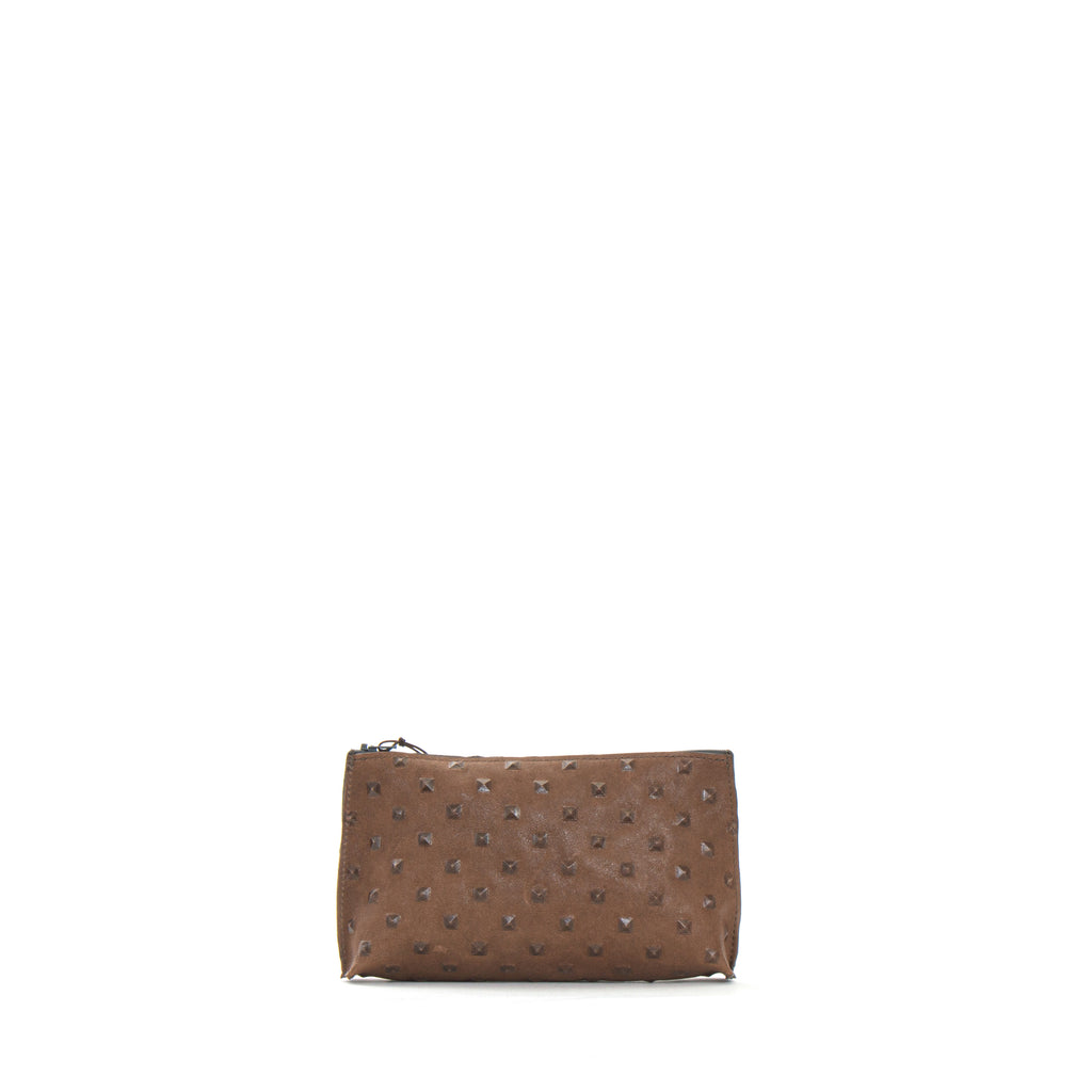 ESSENTIAL POUCH TAUPE EMBOSSED STUD