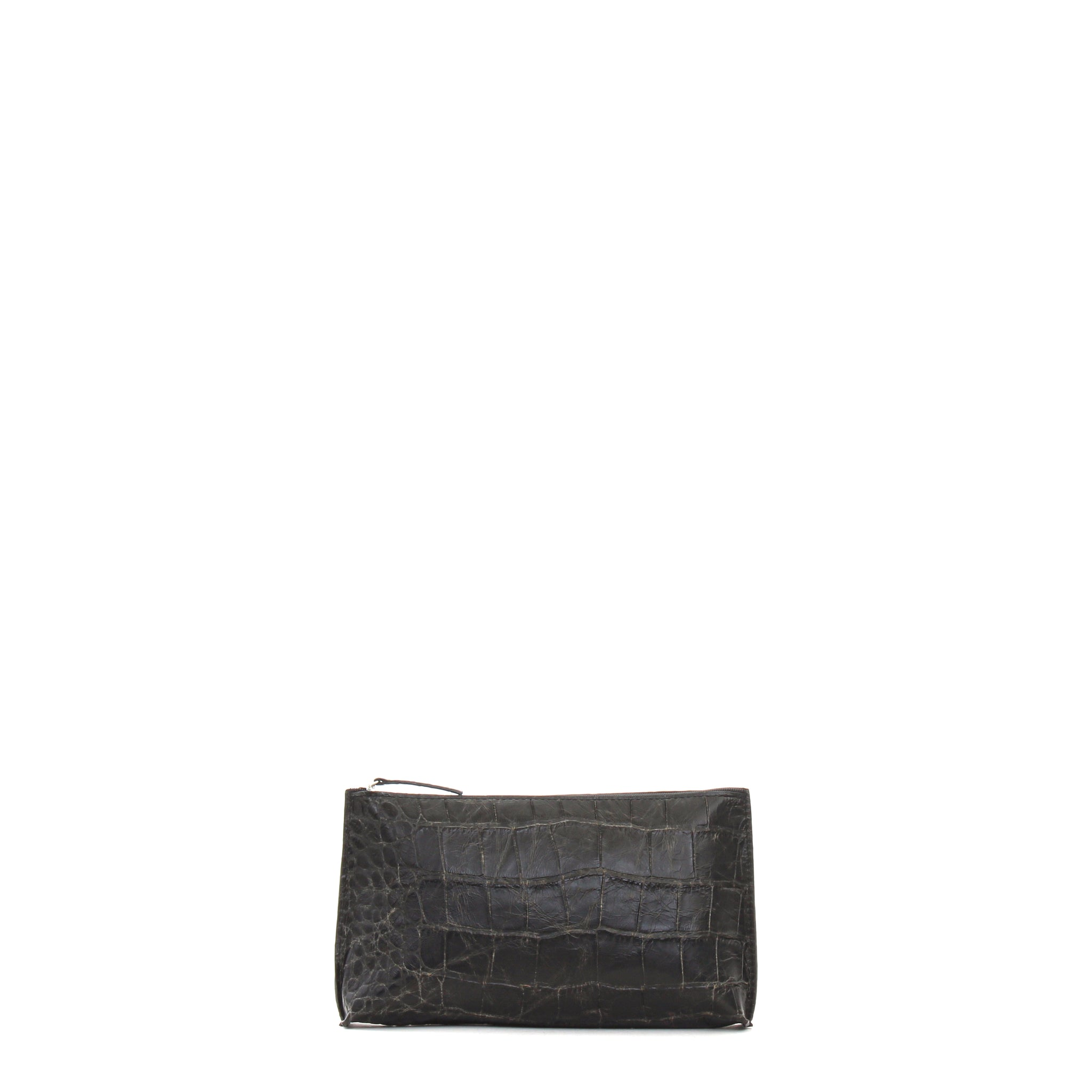 ESSENTIAL POUCH VINTAGE BLACK EMBOSSED GATOR