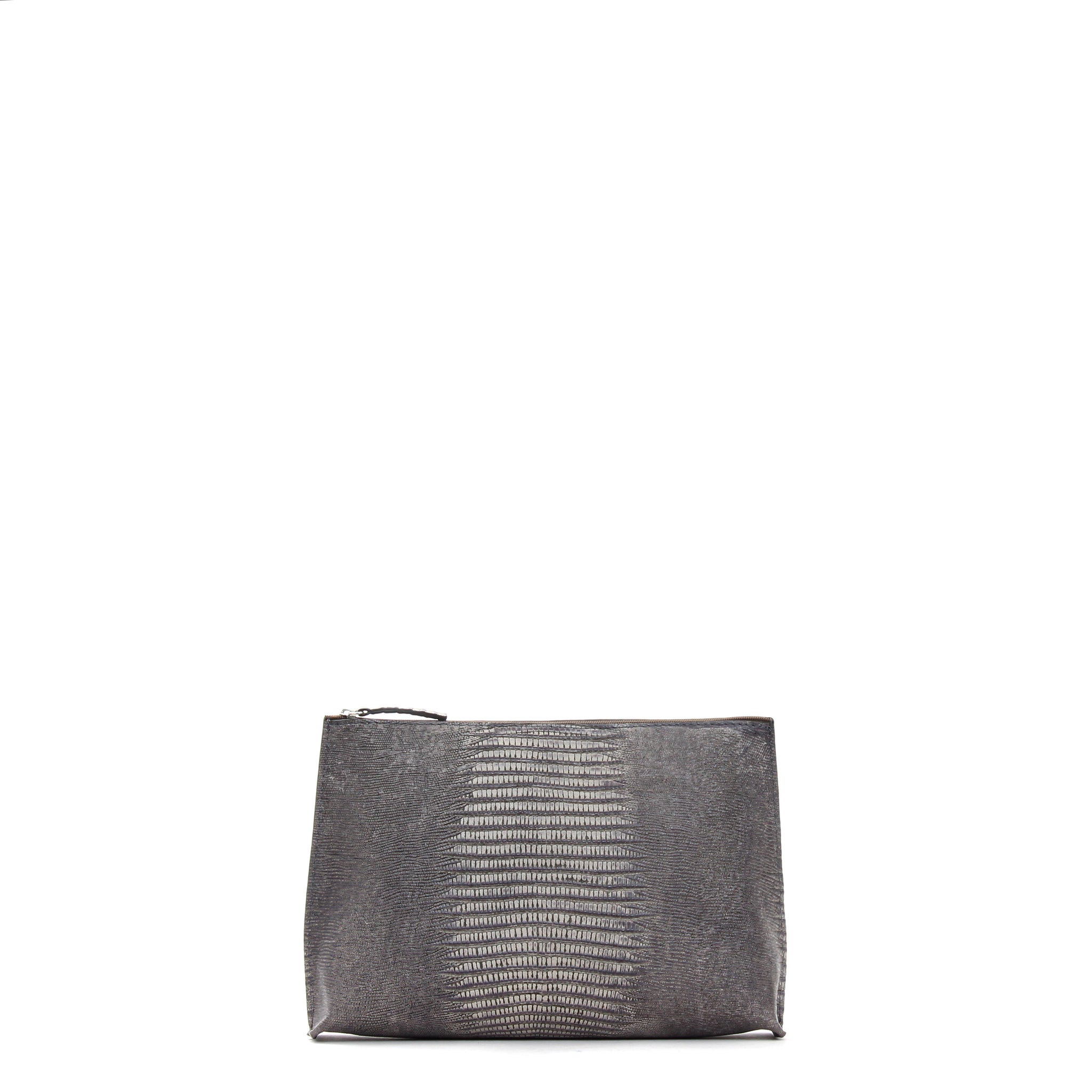 EVERYDAY POUCH GREY EMBOSSED LIZARD