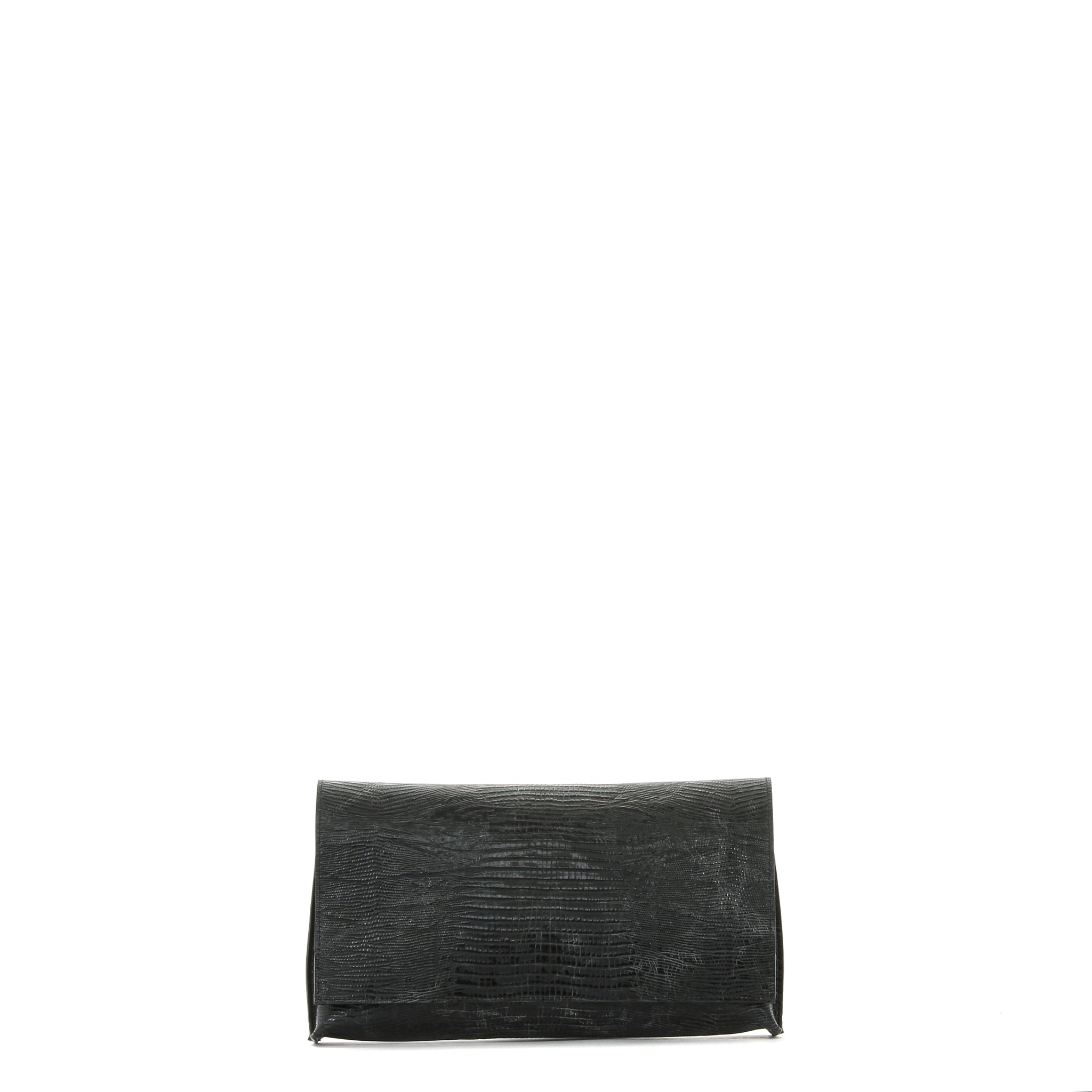 FOLDOVER CLUTCH BLACK EMBOSSED LIZARD
