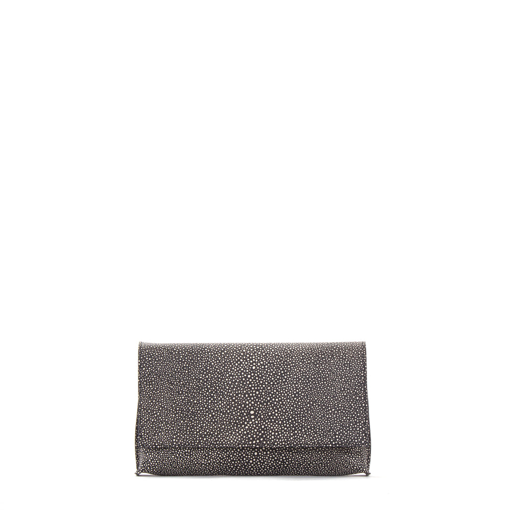 FOLDOVER CLUTCH BLACK SHAGREEN