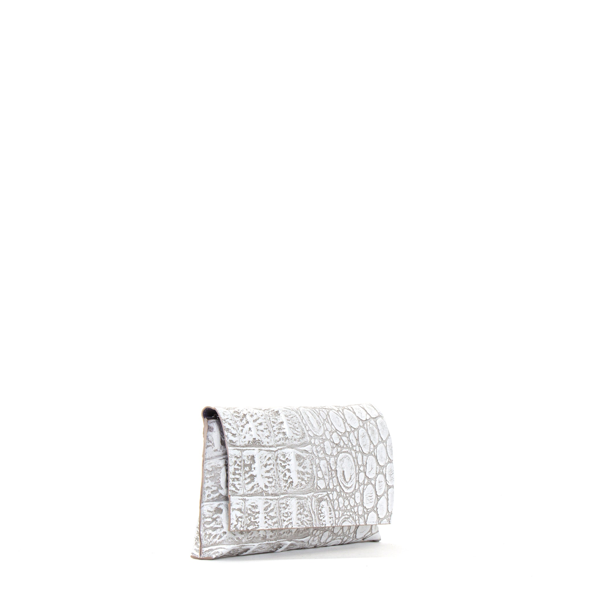 FOLDOVER CLUTCH CHALK EMBOSSED MONSTER CROC