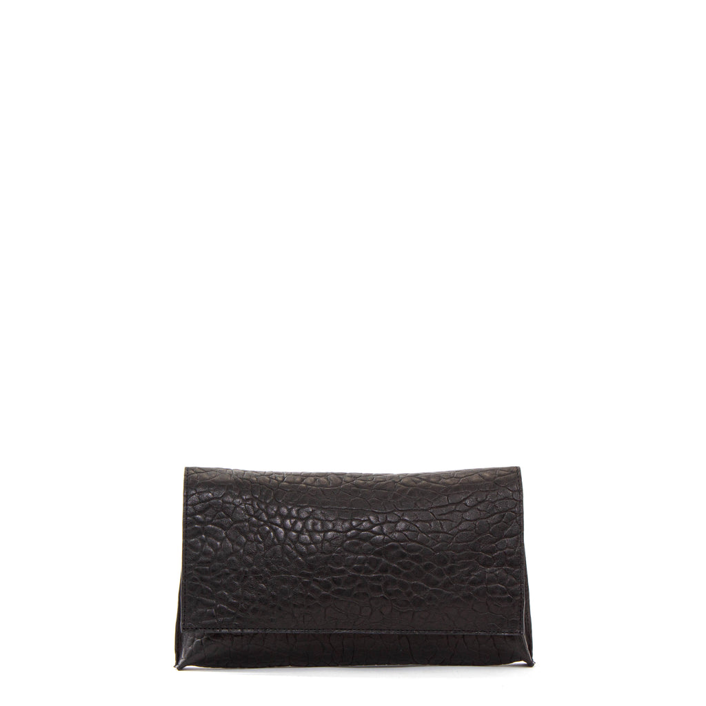 FOLDOVER CLUTCH LICORICE SHEEPSKIN