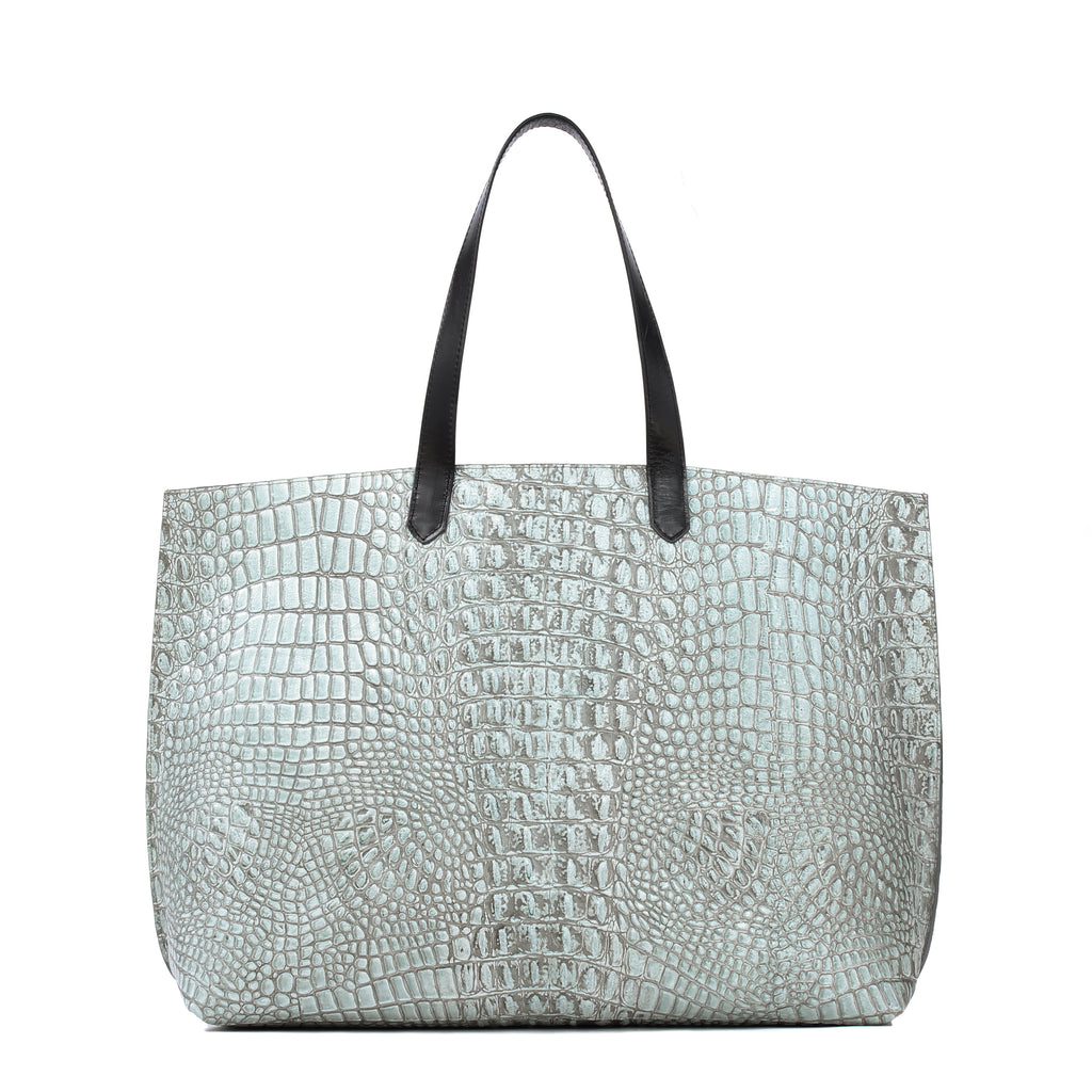 JUMBO SHOPPER SAGE EMBOSSED CROC
