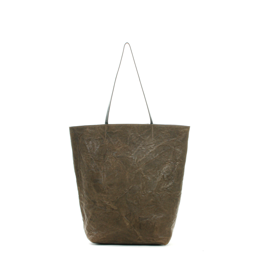 TALL ESSENTIAL TOTE OLIVE RUMPLED SHEEPSKIN