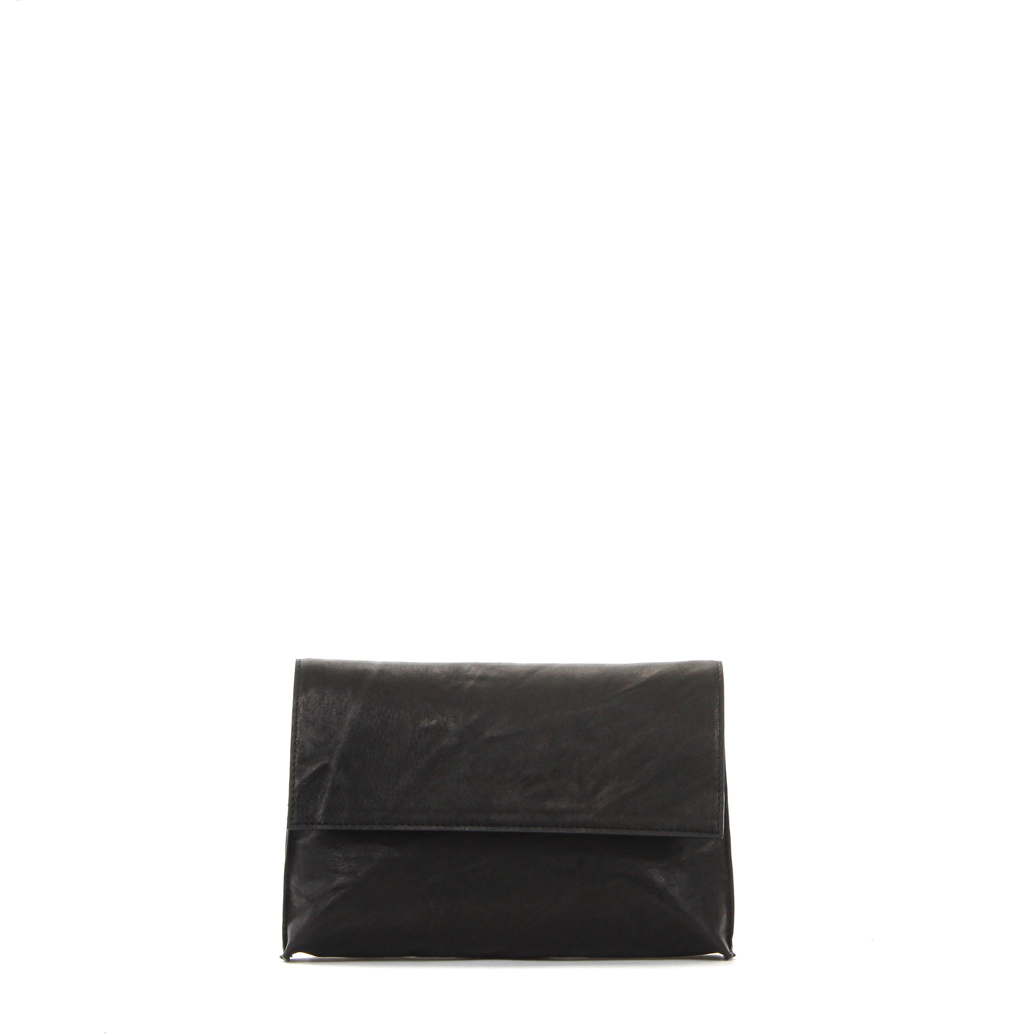 LARGE FOLDOVER CLUTCH BASALT RUMPLED SHEEPSKIN