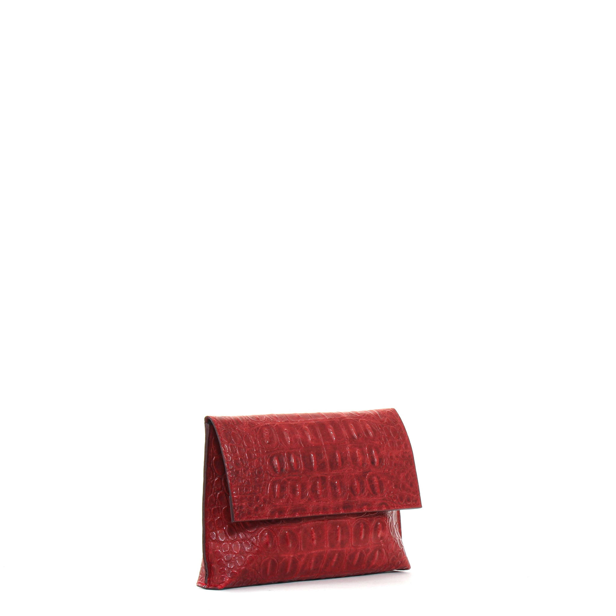 LARGE FOLDOVER CLUTCH RED EMBOSSED GATOR