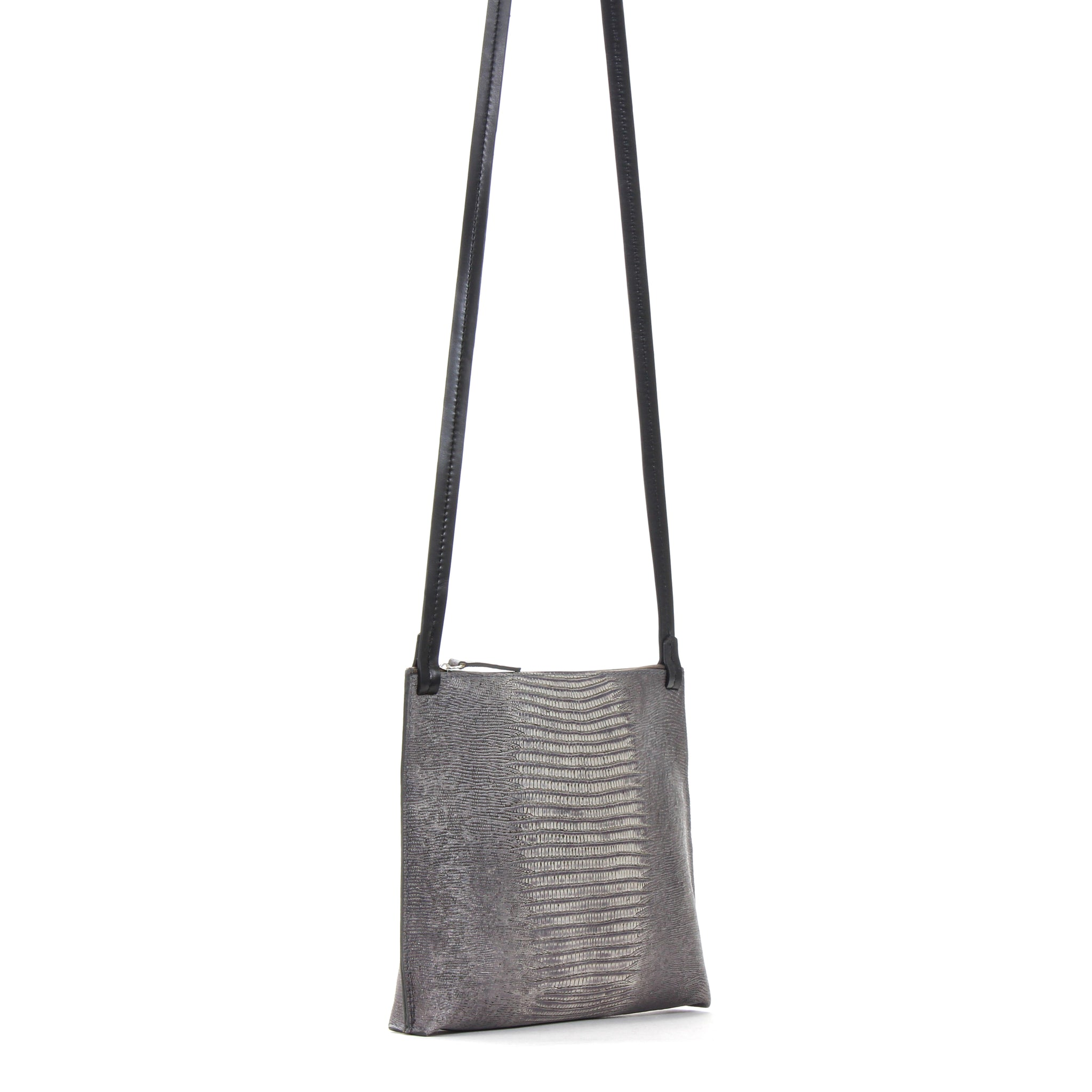 LARGE STRAPPY POUCH GREY EMBOSSED LIZARD