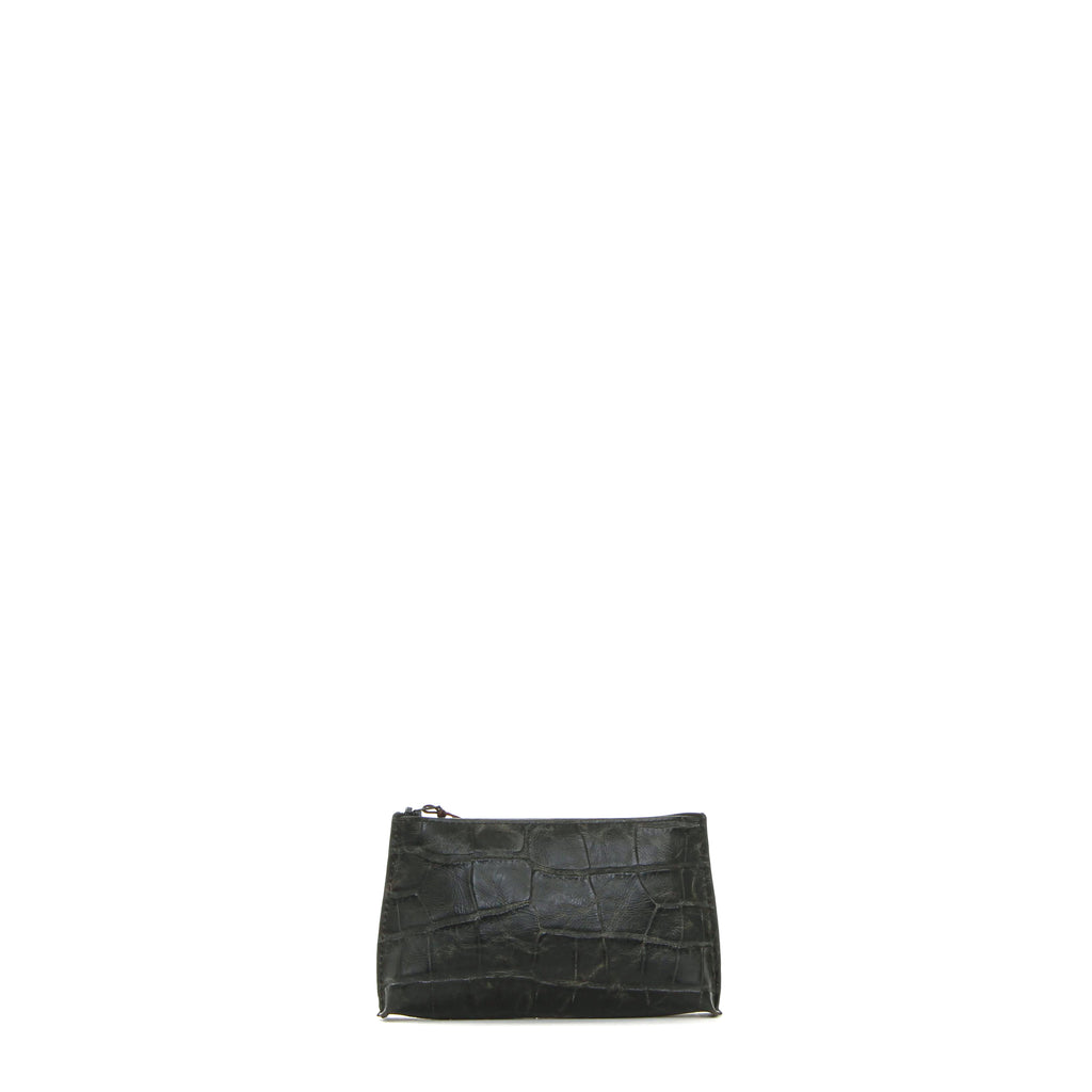 LIPSTICK POUCH BLACK VINTAGE EMBOSSED GATOR