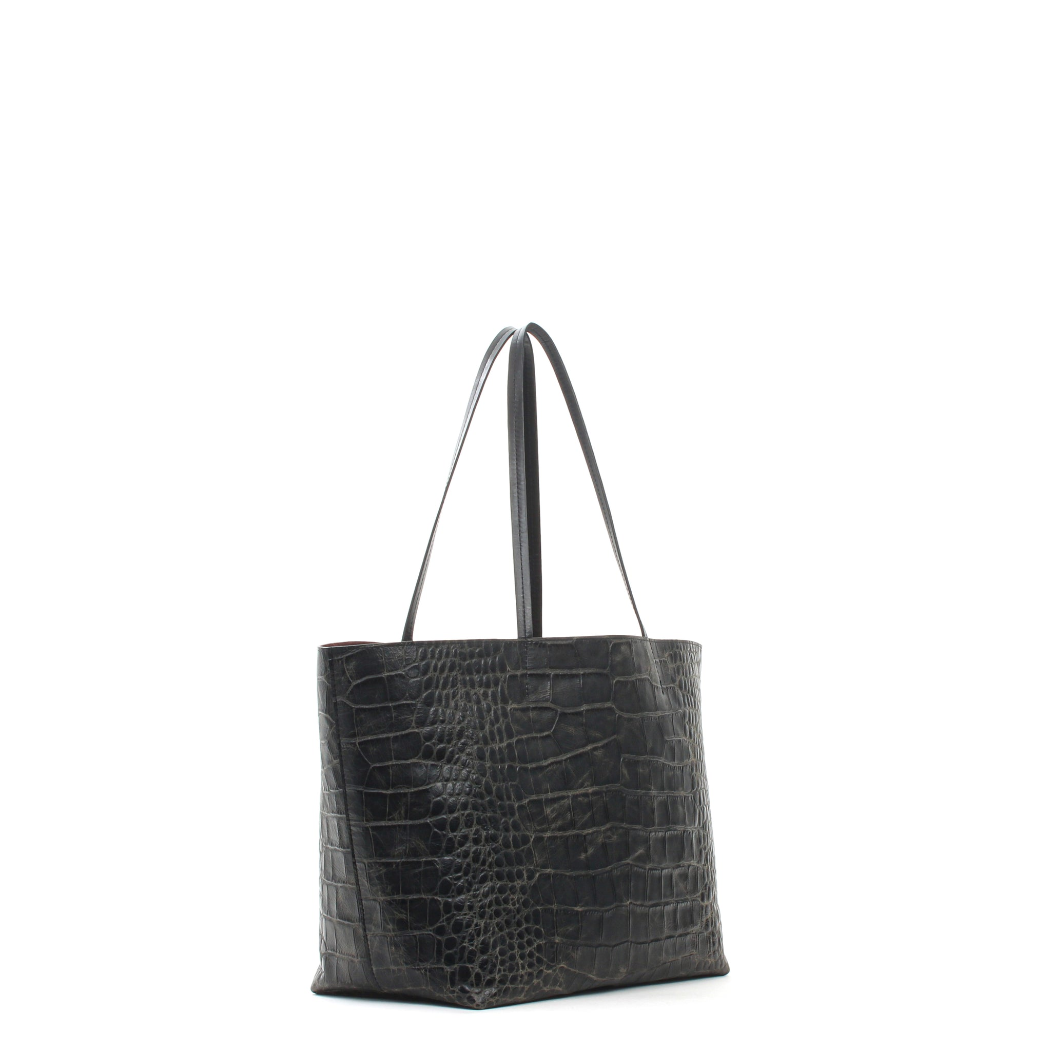 MEDIUM ESSENTIAL TOTE VINTAGE BLACK EMBOSSED GATOR