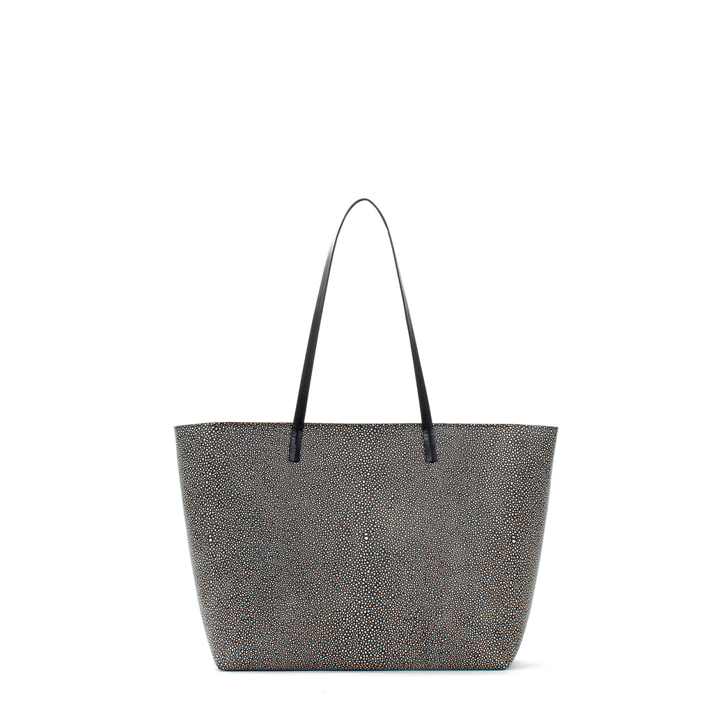 MEDIUM ESSENTIAL TOTE W ZIPPER BLACK SHAGREEN