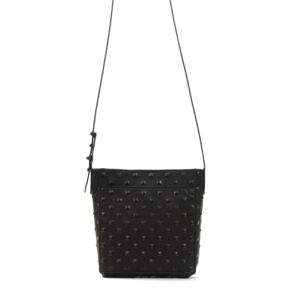 MINI MESSENGER W FRONT POCKET BLACK STUD