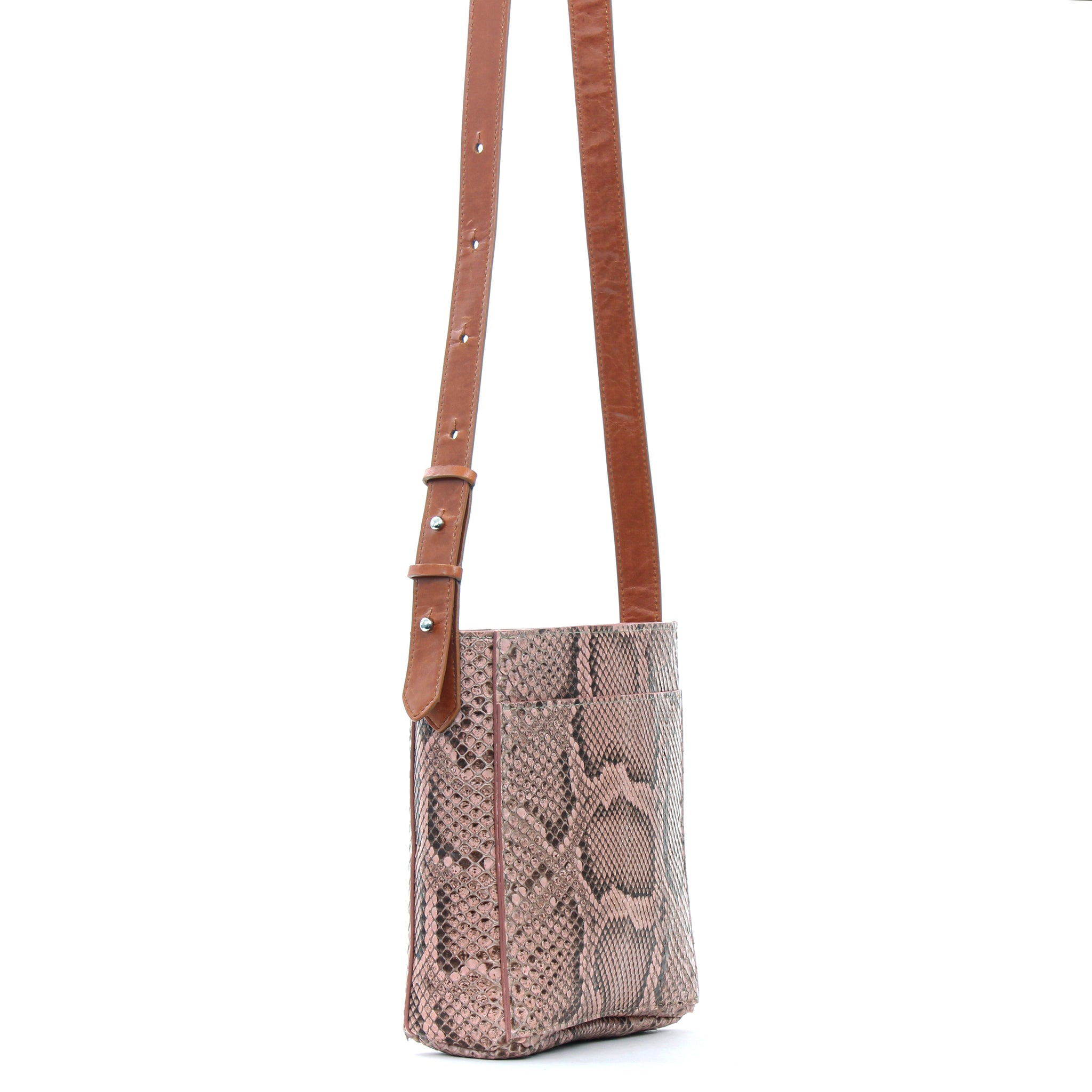MINI MESSENGER W FRONT POCKET BLUSH PYTHON