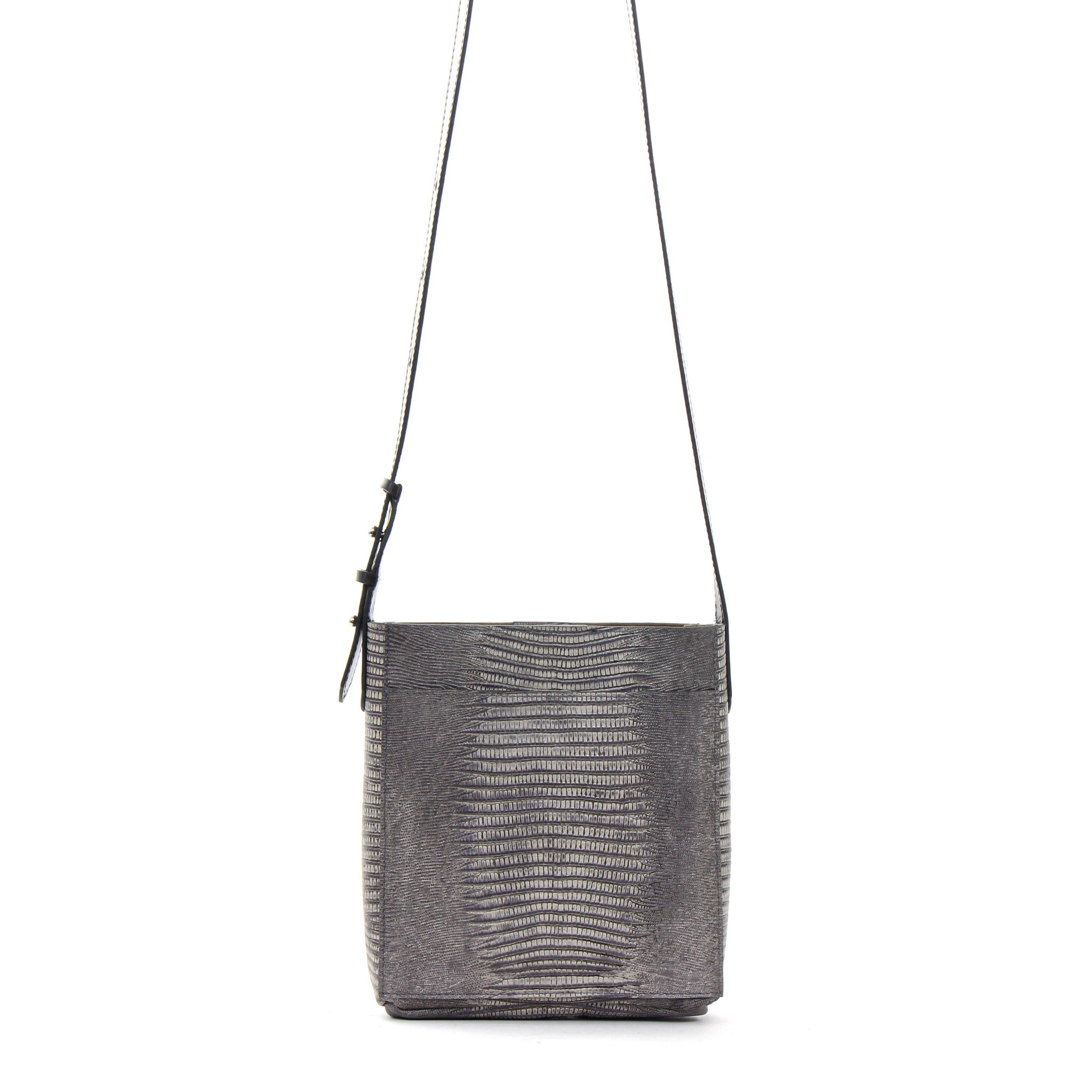MINI MESSENGER W FRONT POCKET GREY EMBOSSED LIZARD