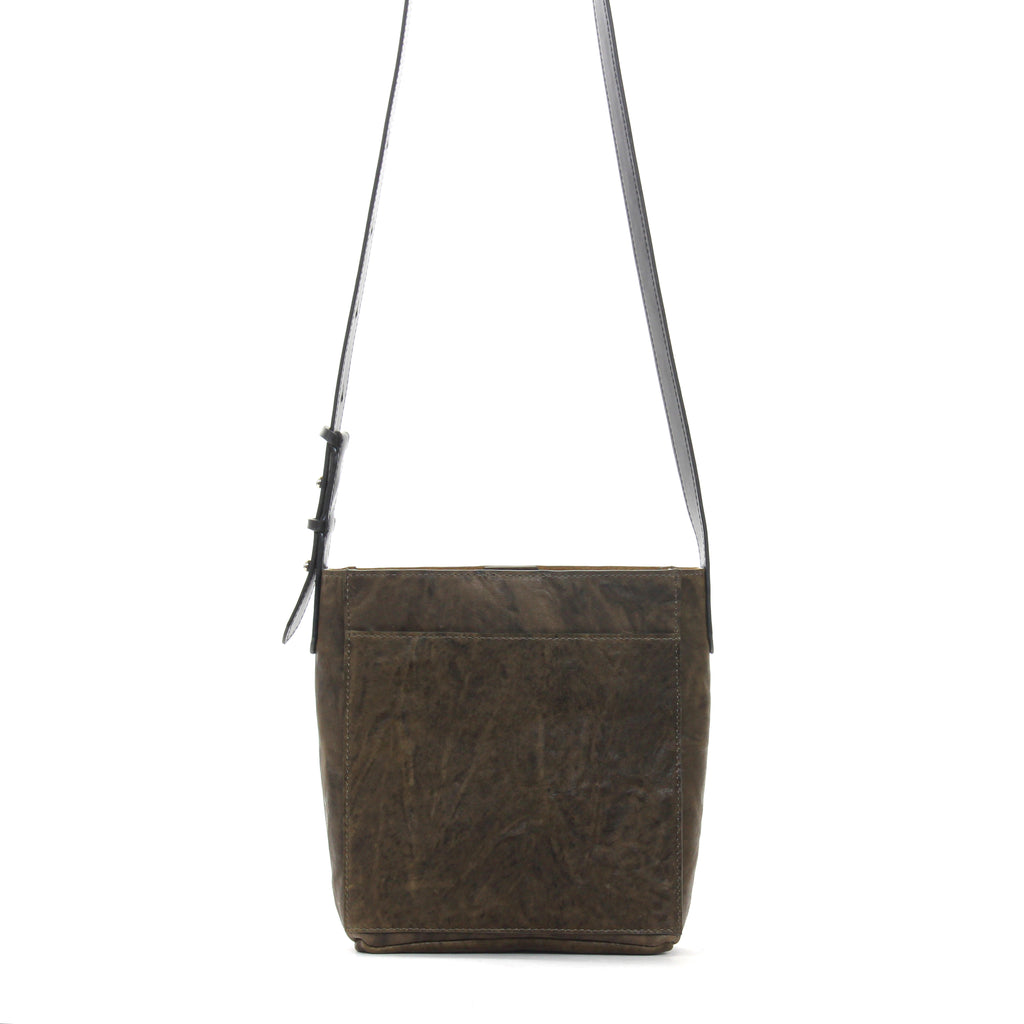 MINI MESSENGER W FRONT POCKET OLIVE RUMPLED SHEEPSKIN