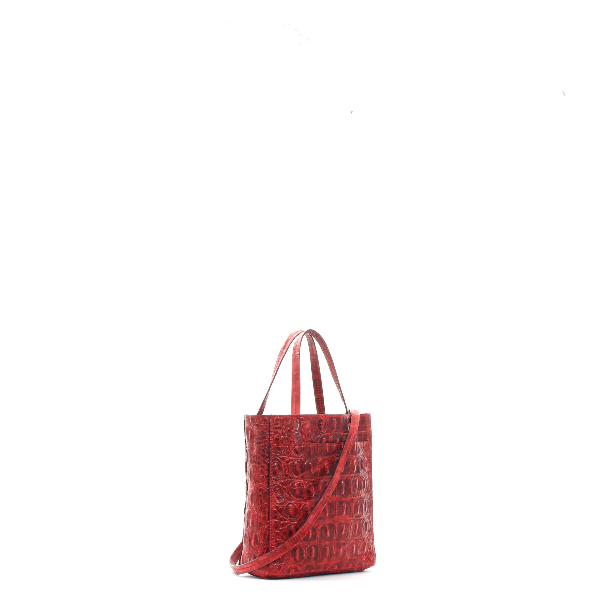 MINI TOTE W FRONT POCKET RED EMBOSSED GATOR