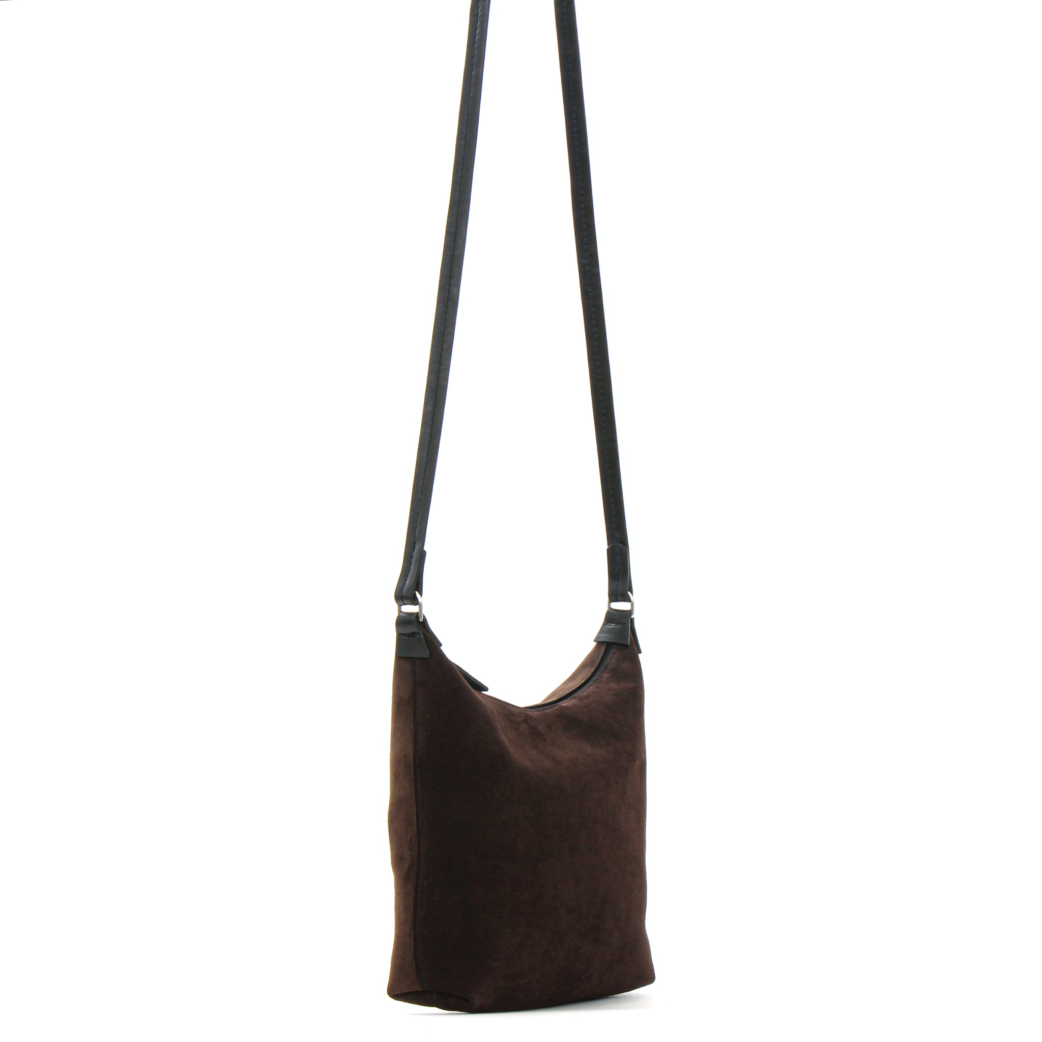 MINI ZIP CROSSBODY SABLE SUEDE