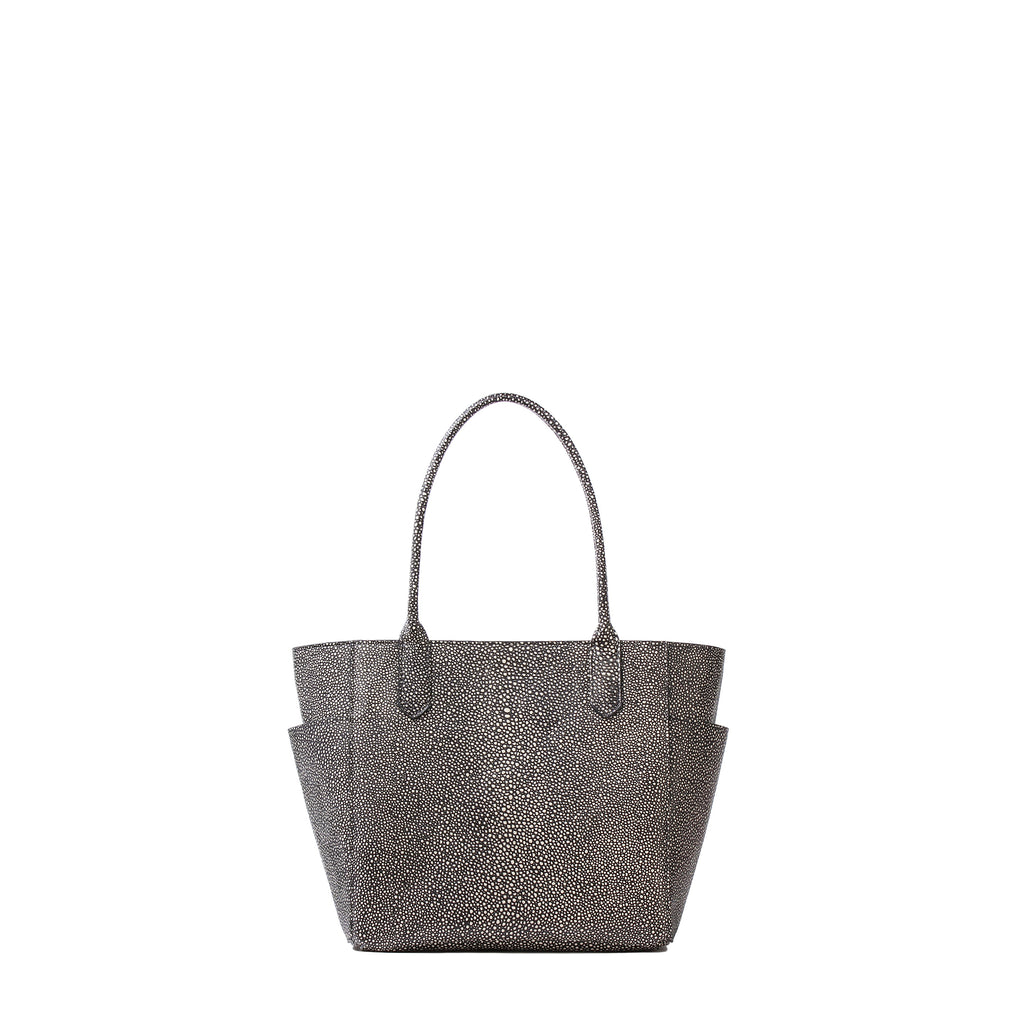 MINI POCKET TOTE BLACK SHAGREEN