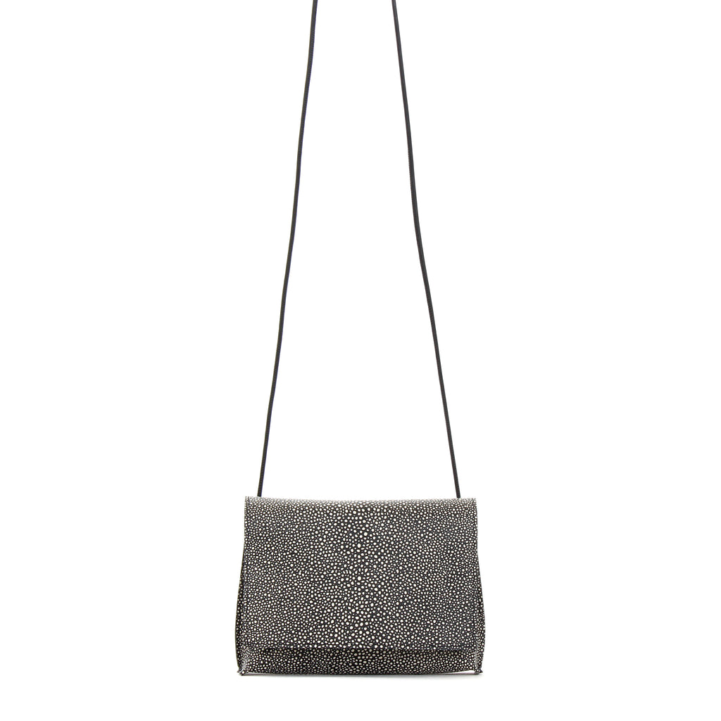 STRAPPY FOLDOVER BLACK SHAGREEN