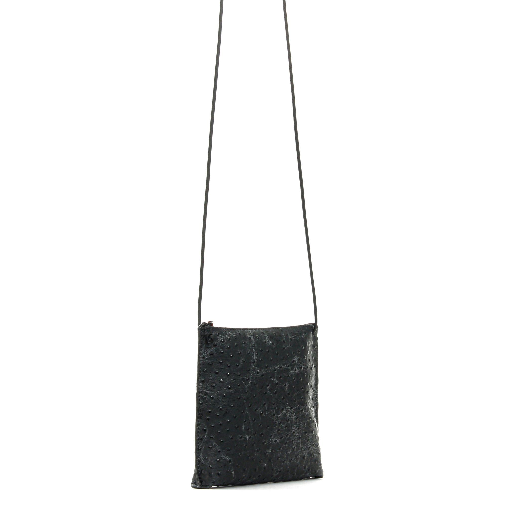 STRAPPY POUCH BLACK EMBOSSED OSTRICH