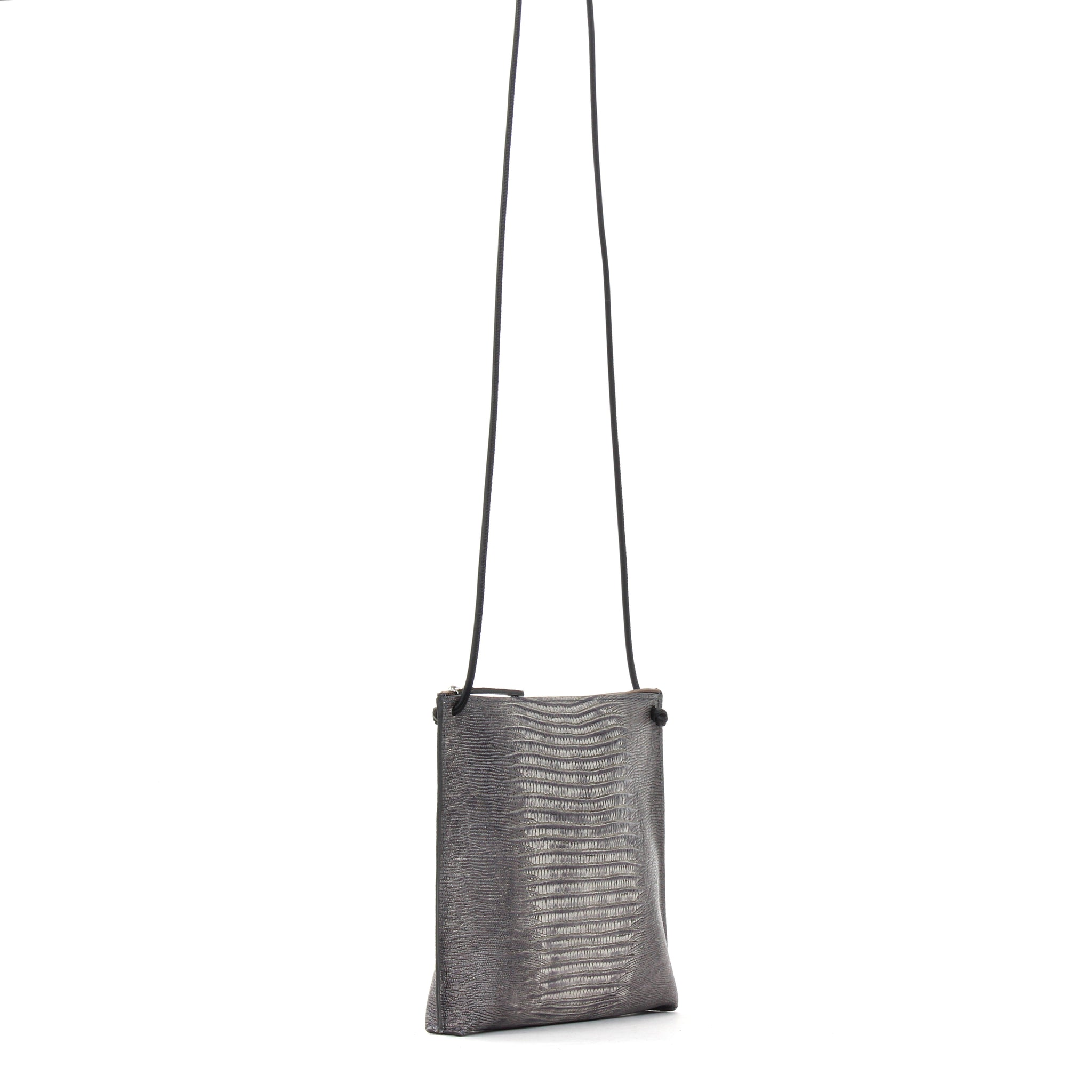 STRAPPY POUCH GREY EMBOSSED LIZARD