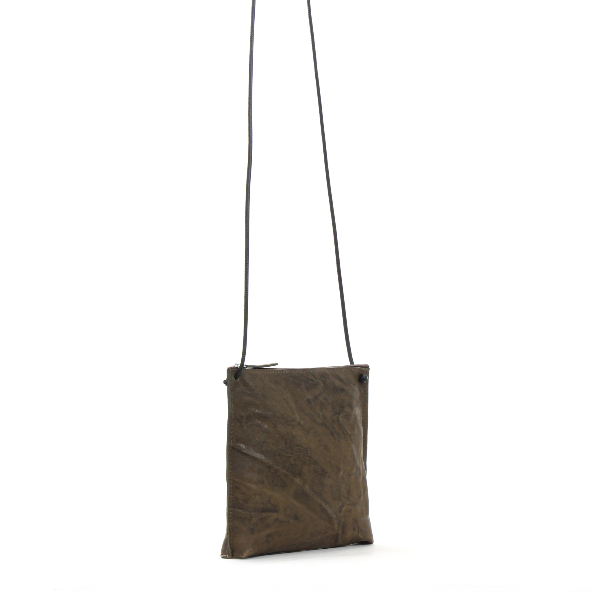 STRAPPY POUCH OLIVE RUMPLED SHEEPSKIN