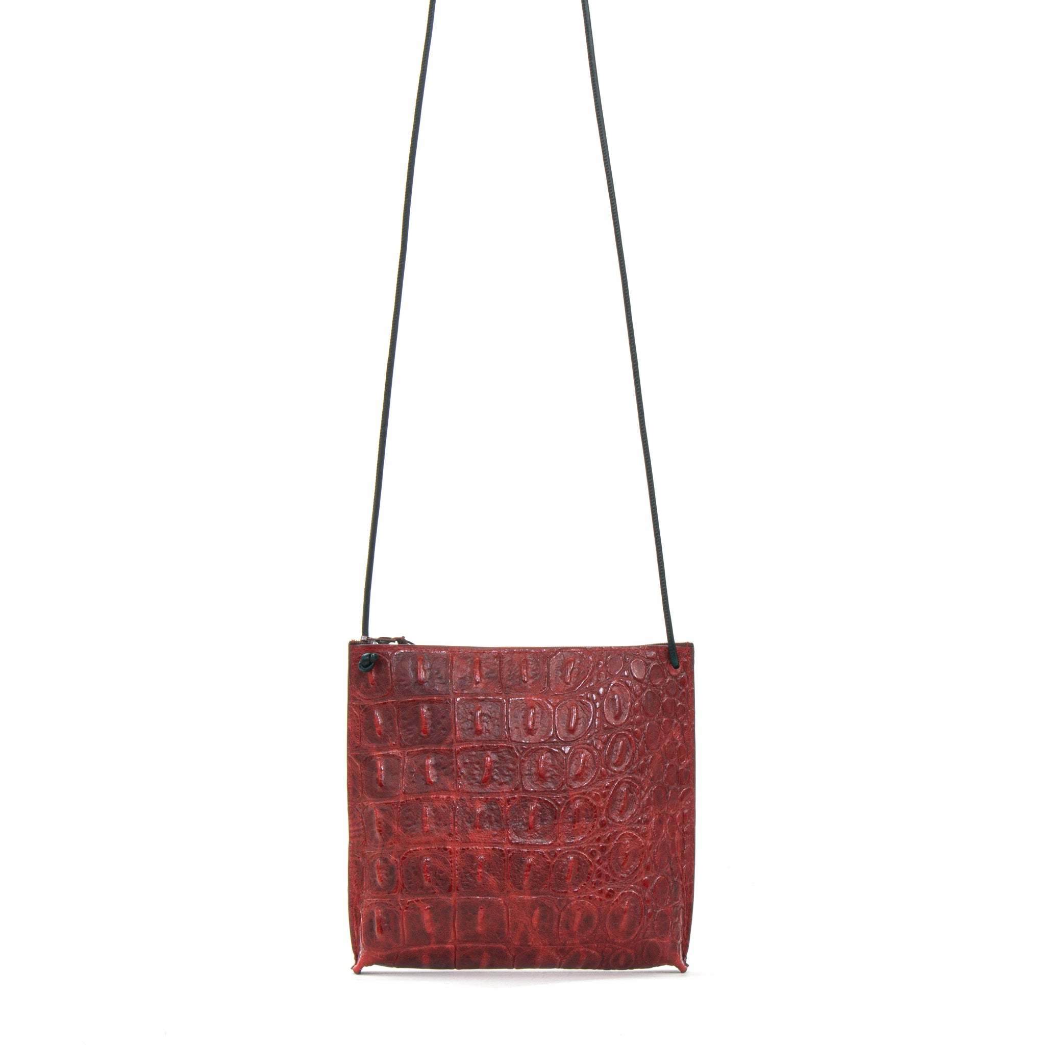 STRAPPY POUCH WAXED RED GATOR