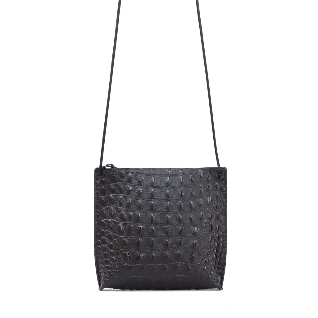 STRAPPY POUCH BLACK EMBOSSED CROC