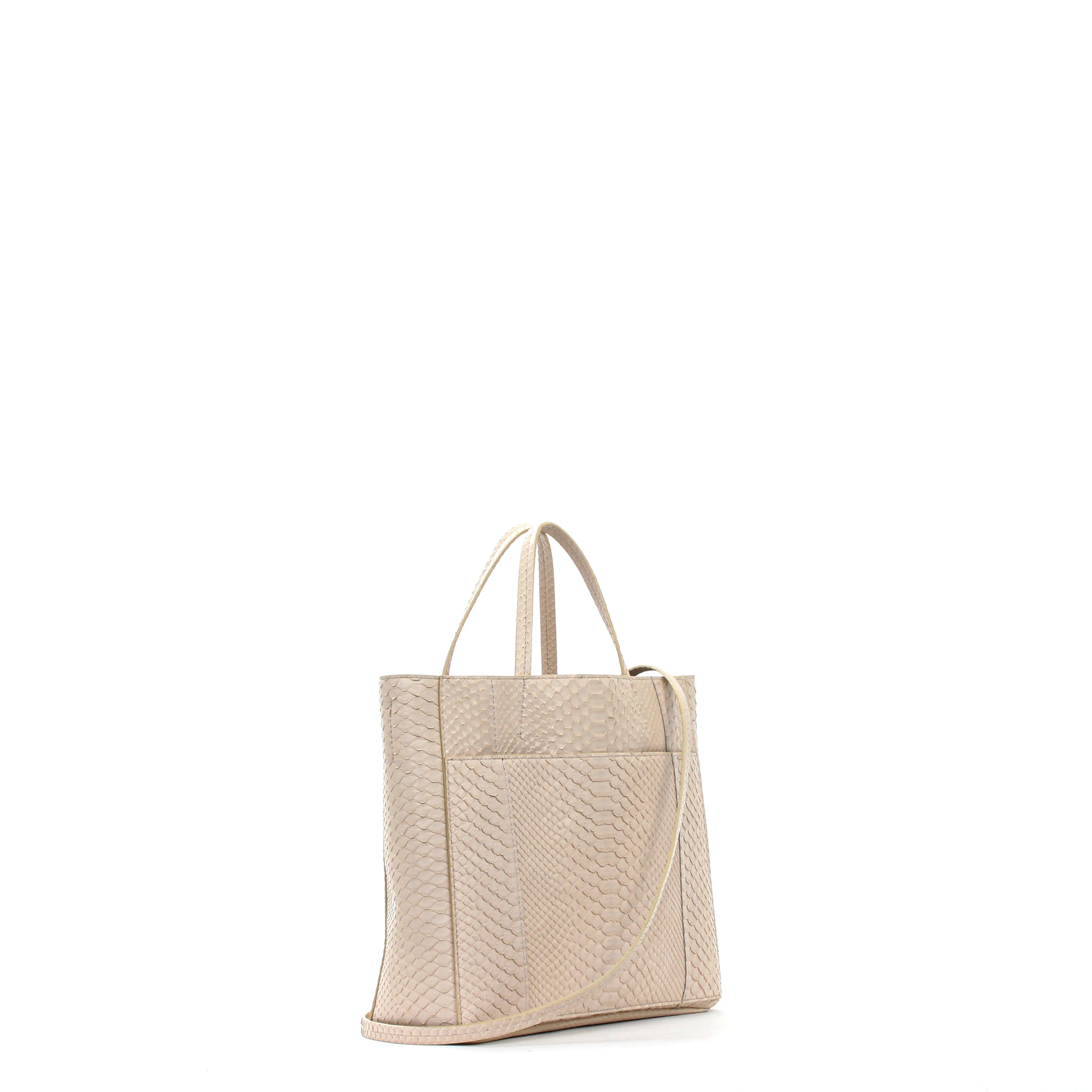 TOTE W FRONT POCKET X BODY DUNE PYTHON