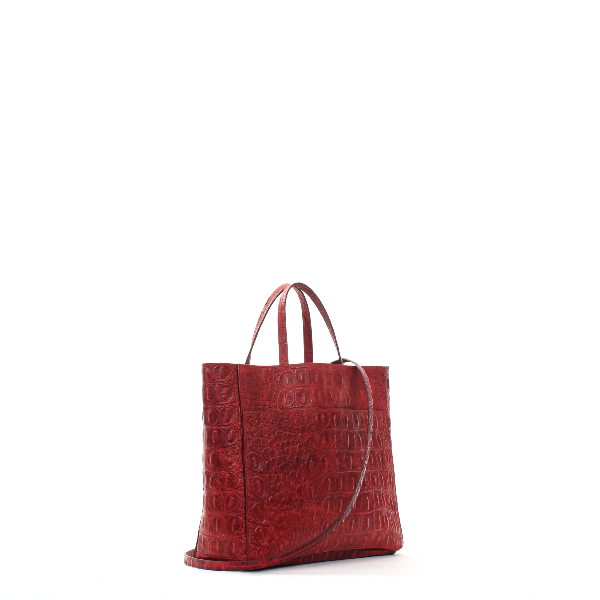 TOTE W FRONT POCKET RED EMBOSSED GATOR