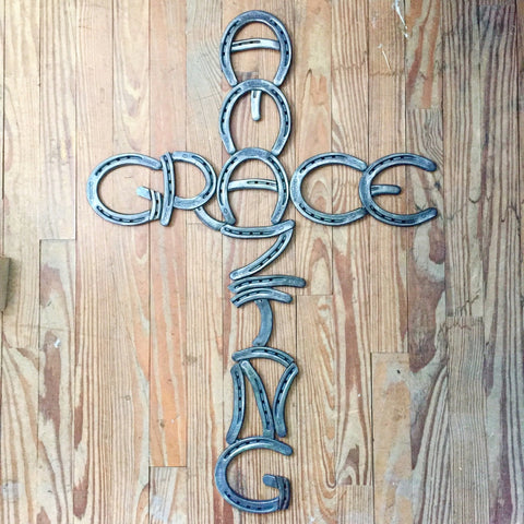 'Amazing Grace' Horseshoe Cross