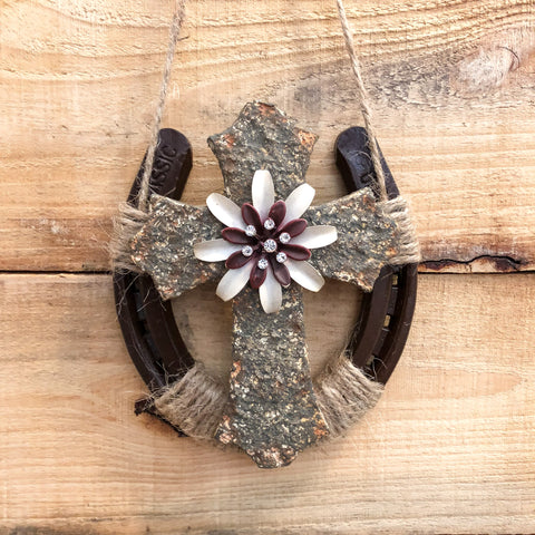 Horseshoe Wall Decor with Cross/Flower